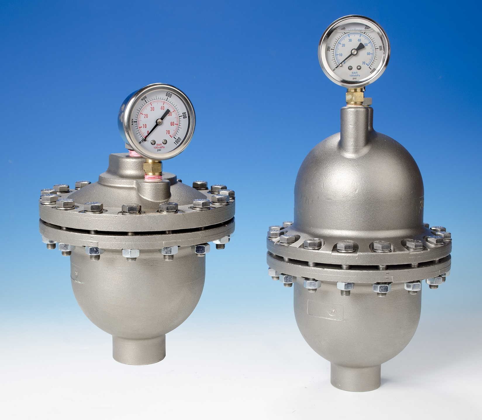 Pulsation Dampeners with Dome and Flat Tops